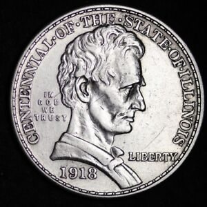 1918 LINCOLN STATE OF ILLINOIS HALF DOLLAR CHOICE UNC  E384 YPX