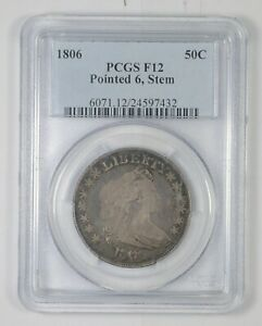 F12 1806 DRAPED BUST HALF DOLLAR   POINTED 6   STEM   GRADED PCGS  6320