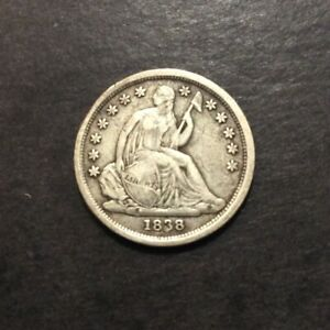 1838 SEATED LIBERTY DIME LARGE STARS F/VF IMO AWESOME EARLY COIN