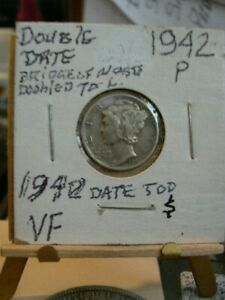 1942 MERCURY DIME ERROR DATE DOUBLED TO LEFT VF CIRCULATED PHOTO'S