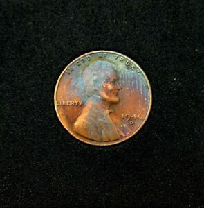 1946 D LINCOLN WHEAT CENT RAINBOW TONED ERROR CENT NICE COLLECTOR PIECE