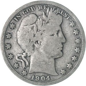1904 S BARBER HALF DOLLAR 90  SILVER GOOD GD  SEE PICS E482