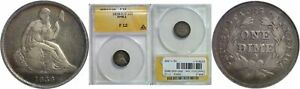 1838 O/O SEATED LIBERTY DIME ANACS F 12 NO STARS RPM 1