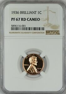 Click now to see the BUY IT NOW Price! 1936 BRILLIANT PROOF LINCOLN CENT NGC PR67 RED CAMEO   TIED FOR FINEST KNOWN