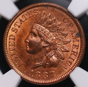 1887 INDIAN HEAD CENT NGC MS 62 RB  NICE GLOSSY LUSTER AND PREDOMINATELY RED