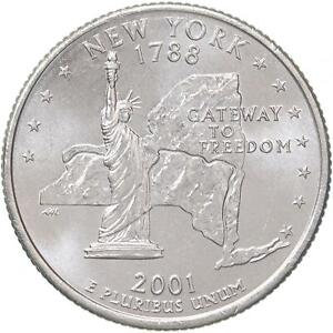 2001 D STATE QUARTER NEW YORK CHOICE BU CN CLAD US COIN
