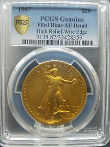 1907 $20 ST GAUDENS HIGH RELIEF WIRE EDGE AU DETAILS PCGS GENUINE  PA33428359