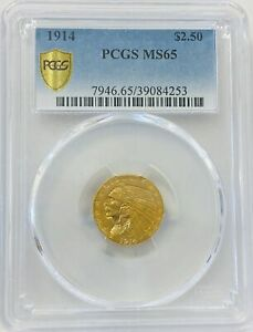 1914 $2.5 INDIAN MS65 PCGS  PA39084253