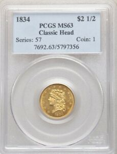 1834 $2.5 CLASSIC SMALL HEAD HM 1 R.2 MS63 PCGS  PA5797356