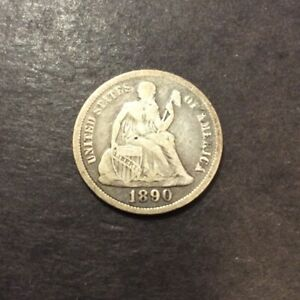 1890 SEATED LIBERTY DIME TOP 100 VARIETY F 105/FS 301 SEE PICS