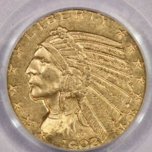 1908 D 1908 INDIAN HEAD GOLD COIN $5 PCGS MS63 NICE ORIGINAL COIN