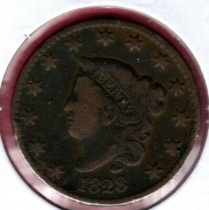 1828 CORONET HEAD LARGE CENT LARGE DATE GRADES GOOD C4356