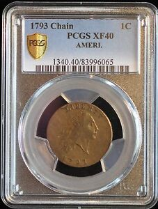 Click now to see the BUY IT NOW Price! 1793 1C LARGE CENT FLOWING HAIR CHAIN CENT AMERI S 1 R4  PCGS XF40 GRADED.
