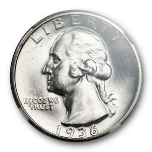1936 D 25C WASHINGTON QUARTER NGC MS 64 UNCIRCULATED CAC APPROVED BLAST WHITE