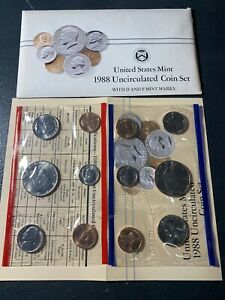 1988 ANNUAL US MINT SET P AND D UNCIRCULATED 10 COIN SET COMPLETE BU