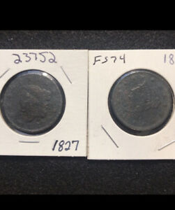 LOT997 2 LARGE CENTS 1827 1840 CORRODED.