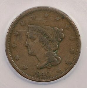 1840 P 1840 BRAIDED HAIR CENT LARGE DATE 1C ICG VF20