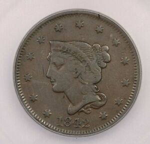 1842 P 1842 BRAIDED HAIR CENT LARGE DATE 1C ICG F12