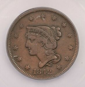 1842 P 1842 BRAIDED HAIR CENT LARGE DATE 1C ICG F15