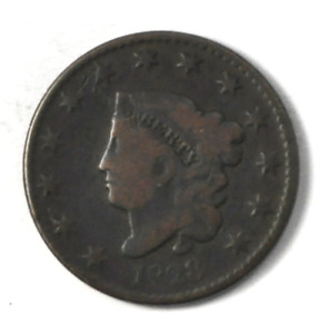 1828 1C CORONET HEAD LARGE CENT ONE PENNY US COIN