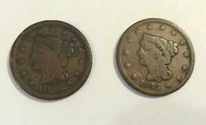 1843 AND 1847   BRAIDED HAIR  LARGE CENTS