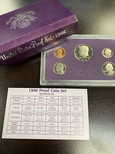 1986 S US MINT PROOF SET WITH ORIGINAL PLUM SLEEVE   FIVE COIN SET COA AND BOX