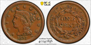 1857 1C SMALL DATE BRAIDED HAIR LARGE CENT PCGS AU 53 ABOUT UNCIRCULATED KEY