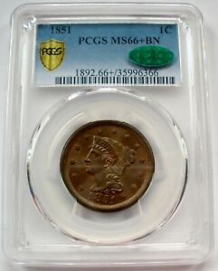 1851 BRAIDED HAIR LARGE CENT GRADED PCGS CAC MS66  GREAT COLOR AMAZING LUSTER