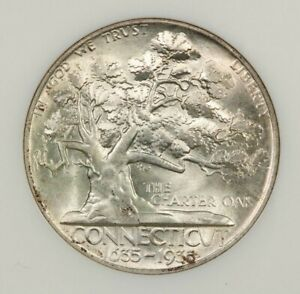 1935 P 1935 CONNECTICUT 50C NGC MS64 OLD NO LINE FATTY HOLDER