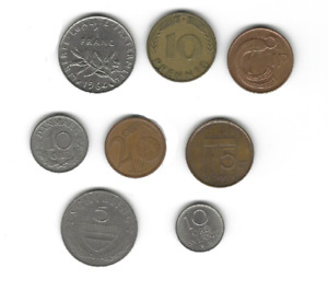 EUROPE COIN LOT   8 COINS FROM 8 COUNTRIES   FRANCE GERMANY IRELAND DENMARK ETC.