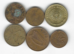 LOT OF 6 CIRCULATED MIXED WORLD COINS   JAMAICA GREECE ARGENTINA ETC.  G