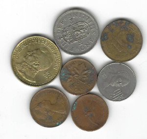 LOT OF 7 CIRCULATED MIXED WORLD COINS   UK ARGENTINA GERMANY CANADA ETC.  E