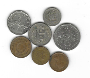 LOT OF 7 CIRCULATED MIXED WORLD COINS   ARGENTINA FRANCE PAKISTAN ETC.  C