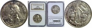 1925 FT. VANCOUVER SILVER COMMEMORATIVE NGC MS 64