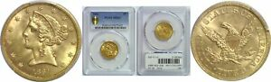 1861 $5 GOLD COIN PCGS MS 63