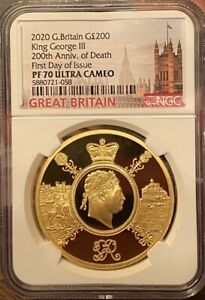 Click now to see the BUY IT NOW Price! GREAT BRITAIN UK 2020 200 KING GEORGE III ROYALTY 2 OZ GOLD COIN NGC PF70 F.DAY
