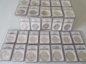 Click now to see the BUY IT NOW Price! COINS DOLLARS 50 AMERICAN EAGLES NGC GRADED LOT MS69 1986 THRU 2021 W   HERALDIC