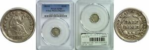 1849/6 SEATED LIBERTY HALF DIME PCGS XF 40 9 OVER WIDELY PLACED 6