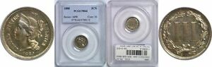 1880 NICKEL THREE CENT PIECE PCGS PR 64