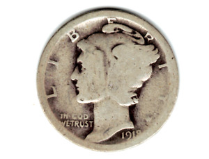 1918 D MERCURY DIME IN ABOUT GOOD CONDITION   PLEASE SEE THE SCAN    .STK G 2