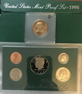 100   1998 US UNCIRCULATED MINT PROOF SET & FIRST YEAR GOLD COLORED SBA DOLLAR