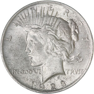 1923 PEACE SILVER DOLLAR ABOUT UNCIRCULATED AU SEE PICS E973