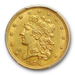 1838 $5 CLASSIC HEAD HALF EAGLE GOLD PCGS AU 58 ABOUT UNCIRCULATED EXCEPTIONA