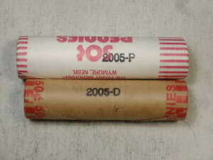 PAIR OF UNCIRCULATED ROLLS 2005 LINCOLN CENTS ONE EACH P & D   1204 06