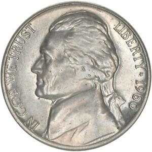 1960 D JEFFERSON NICKEL ABOUT UNCIRCULATED AU