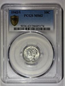 1942/1941 MERCURY DIME MS62 PCGS PIECE FAUTEE ERROR OVERDATE USA DOLLAR
