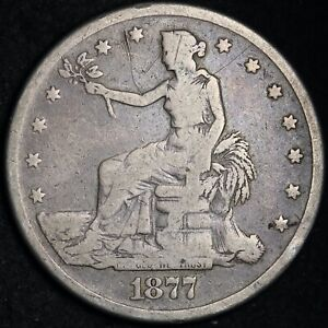 1877 S TRADE DOLLAR CHOICE VG/FINE   E365 ALM