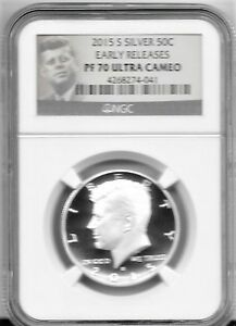 2015 S  SILVER PROOF 70  NGC ULTRA CAMEO KENNEDY HALF DOLLAR EARLY RELEASES
