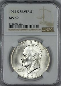 Click now to see the BUY IT NOW Price! 1974 S SILVER EISENHOWER DOLLAR NGC MS69   TOP POP   BRILLIANT WHITE & GORGEOUS