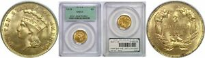 1879 $3 GOLD COIN PCGS MS 64